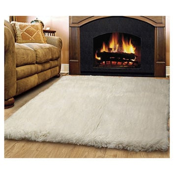 Linon Rugs Flokati Natural Area Rug & Reviews | Wayfair
