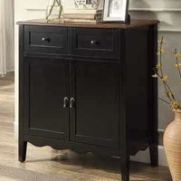 Two tone black finish wood hall console sofa table with scroll bottom design wine cabinet with doors and drawers