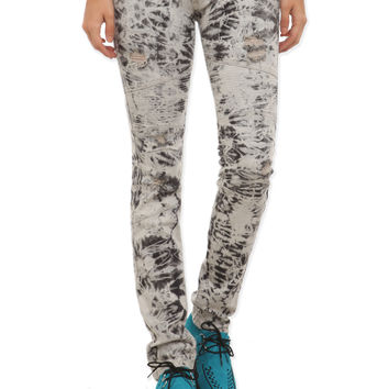 Machine Grey Acid Wash Skinny Biker Jeans | Hot Topic