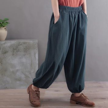 2017 Winter Elastic Waist Lantern Trousers Solid Pocket Full Length Large Size Cotton Linen Nepal Style Pantalones Mujer runback
