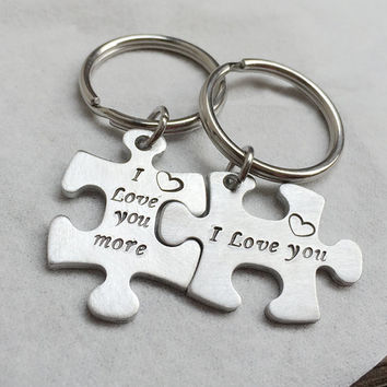 Silver Puzzle piece keychain set, Silver puzzle piece, bridesmaid puzzle keychain, puzzle keychain gift for couples, Valentine's Day Gift