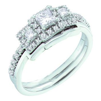 14KT Bridal Three Stone Wedding Ring Set 0.52CT Diamond White Gold