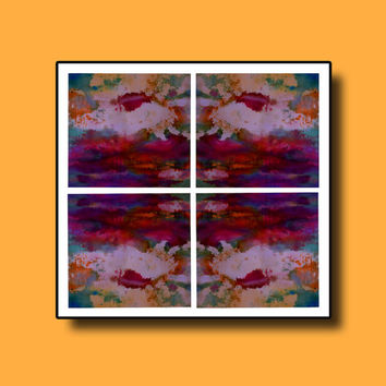 4 Piece Abstract Large Colorful Wall Art Prints, Pink Blue Yellow Purple Vibrant color Art, High quality Prints, Wall & Home Decor
