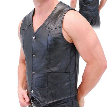 Motorcycle Mens Genuine Leather Vest