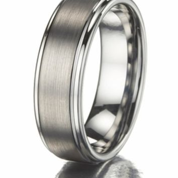 Men's Tungsten Carbide Promise Ring with a Brushed Finish only $69.00 - Mens Rings