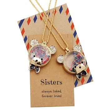 Izzy Little Sister Big Sister Bear Necklaces, Jewelry Gifts for Women