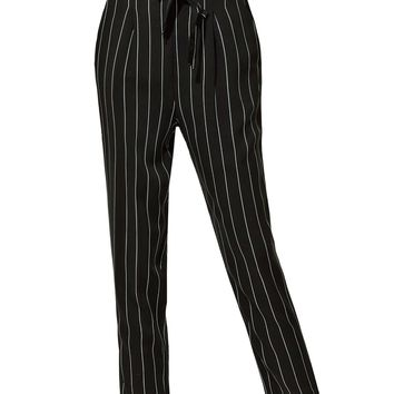 LE3NO Womens Slim High Waisted Striped Loose Casual Long Peg Trouser Pants