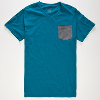 Blue Crown Contrast Mens Pocket Tee Turquoise  In Sizes