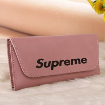 Supreme Trending Leather Print Button Purse Wallet For Women pink