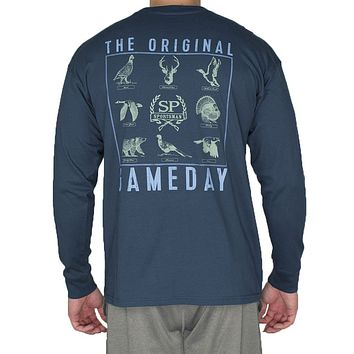 The Original Gameday Long Sleeve Tee Shirt in Navy by Southern Proper