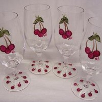 Cherry Glasses by monkmama54 on Zibbet