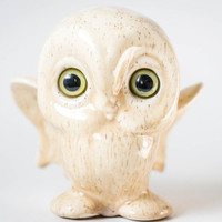 Vintage Owl Figurine - Canadiana Pottery Owl Statue - Ceramic White Owl Green Eyes - Made in Canada