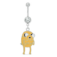 014 Gauge Adventure Time Jake Dangle Belly Button Ring with Blue Crystal in Stainless Steel - - View All - PAGODA.COM