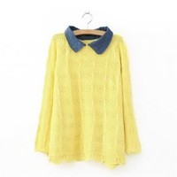 Yellow V-neck Pullover Lapel Long Sweater - Designer Shoes|Bqueenshoes.com