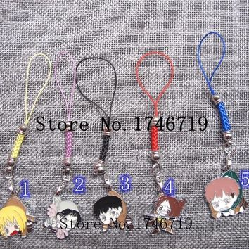 Cool Attack on Titan New 20 pcs cartoon  mix Japanese anime   charm  lanyard straps lobster bag key chains jewelry making  LX-15 AT_90_11