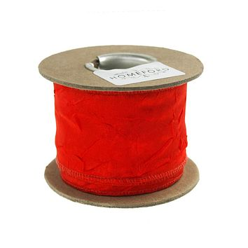Crinkled Satin Silk Wired Edge Ribbon, 2-Inch, 9-Yard, Red