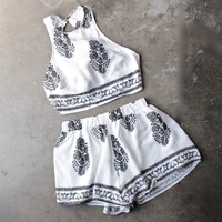 reverse - white + black boho print halter two piece set