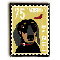 Dachshund Postage Stamp by Artist Ginger Oliphant Wood Sign