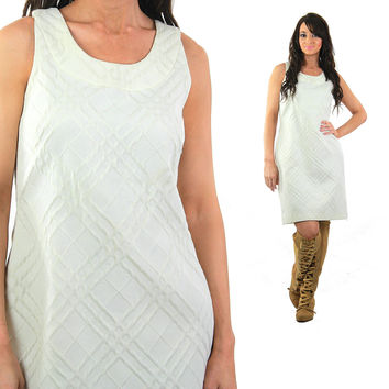 Vintage 80s white mod dress wiggle shift sleeveless party cocktail bridal scoop neck Retro chic Large