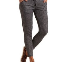 Heathered Zipper Cuff Jogger Pants by Charlotte Russe - Black Combo