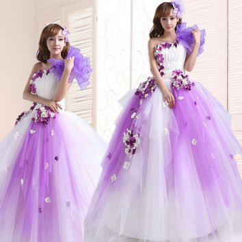 Romantic  Colorful  Beading Ruched One Shoulder Quinceanera Dresses purple