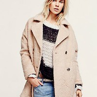Free People Womens Miss Molly Textured Overcoat - Sand