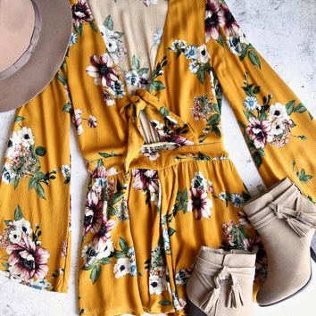 a love like this romper - floral mustard