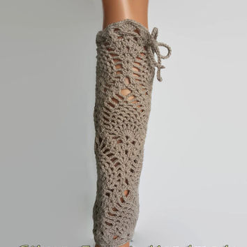 Brown crochet leg warmers,Women's fashion accessories,boot cuffs,knee high socks,perfect gift