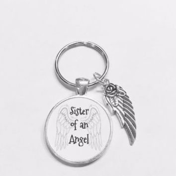 Sister Of An Angel Guardian Angel Wing In Memory Sympathy Gift Keychain