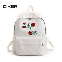 CIKER Women canvas backpack cute fashion rose printing backpacks for teenagers women's travel bags mochilas rucksack school bags