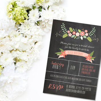 Printable Floral Rustic Chalkboard Garden Party bridal shower invitation