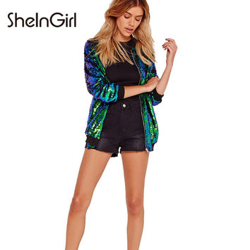 SheInGirl 2017 Autumn Sequin Coat Women Green Bomber Jacket Long Sleeve Zipper Jacket Preppy Style Loose Casual Basic Jacket