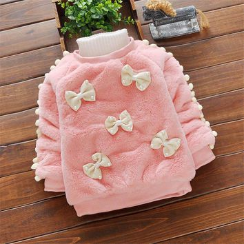 BibiCola baby girls sweaters clothing infant autumn winter warm bowknot sweaters winter cotton thermal clothes for toddler girls