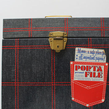 Vintage Denim Ballonoff Metal Porta-File Tin 1970s
