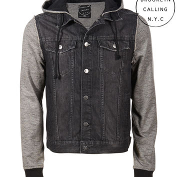 Aeropostale  Brooklyn Calling Denim Hoodie Jacket - Black
