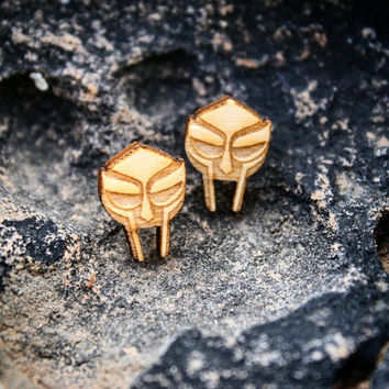 Baby MF Doom Wood Earring Studs
