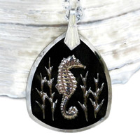 Black and Silver Seahorse Necklace, Carved Glass Pendant on Silver Tone Chain, Intaglio Necklace, Seahorse Jewelry, Intaglio Jewelry