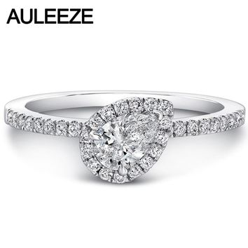 14K White Gold 1CT Pear Cut Moissanites Halo Wedding Rings Lab Grown Diamond Engagement Ring Fine Jewelry Christmas Gifts
