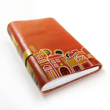 Leather Journal Orange Street - Leather Journal, Notebook, Diary - Orange Leather Cover