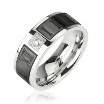 Black IP Engraved Roman Numerals with CZ Center 316L Surgical Stainless Steel Ring
