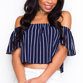 I Dare You Off The Shoulder Top - Navy