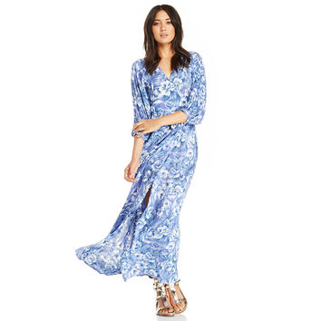 V-neck Floral Chiffon Bishop Sleeve Maxi Dress with Slit