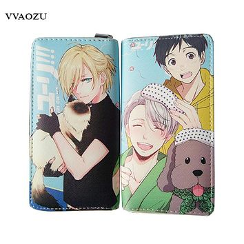 Yuri On Ice Wallets PU Leather Long Women Men Carteira Wallets Clutch Design Hand Bags Women Zipper Purses with Coin Pocket