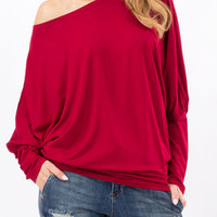 Burgundy Loose Draped Batwing Sleeve T-shirt