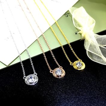 0.5 Carat Bezel Solitaire Necklace, Dainty Everyday Pendant, 5 mm Man Made Diamond in 925 Silver (rose gold/ yellow gold/ platinum plated)
