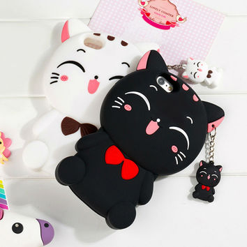 Cute Cartoon Black & White Cat Soft Silicon Phone Back Cover Coque For iPhone 5S 5C 6S 6 Plus SE Hot Mobile Phone Bags & Cases
