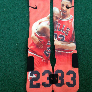Jordan Flu Game Customized  Nike Elite Socks