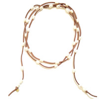 Natural Leather and Freshwater Pearl Wrap Necklace