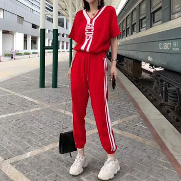 """GCDS"" Women Casual Fashion Multicolor Stripe Letter V-Neck Short Sleeve Trousers Set Two-Piece Sportswear"
