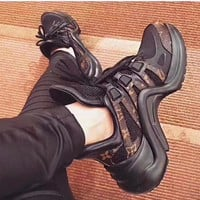 Louis Vuitton Vintage Shoes Women Men Sneakers LV Wave Line Sneaker B-TFDXY-XNEDX Coffee Sports Shoes